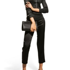 St. John collection Leather Paneled Milano Pant Mixed Media Knot Pants Ankle 4